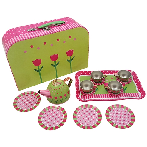 Servies tin roze / groen in koffer; 15-delig