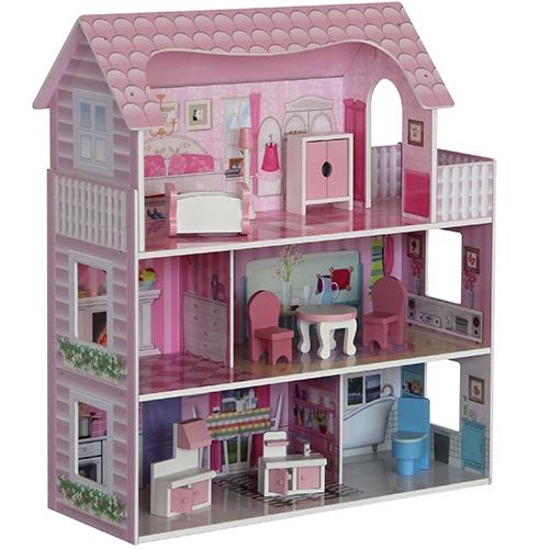Poppenhuis roze dak groot; inclusief meubels