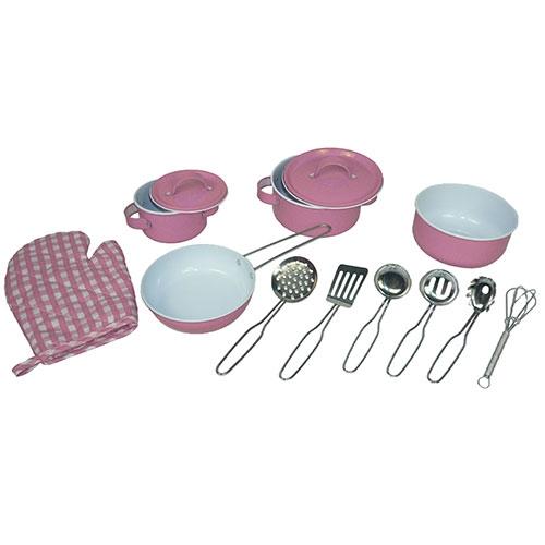 Pannenset roze tin / metaal; 13-delig