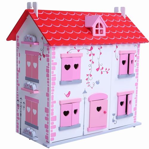 Poppenhuis wit/roze inclusief meubels; Openklapbare voorkant