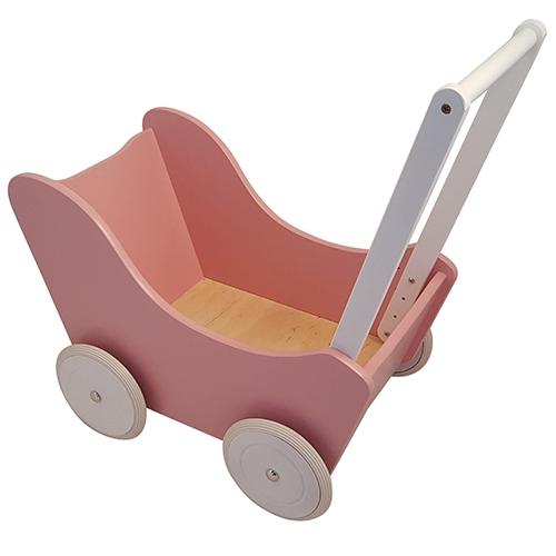 Poppenwagen roze met witte wielen; exclusief dekje