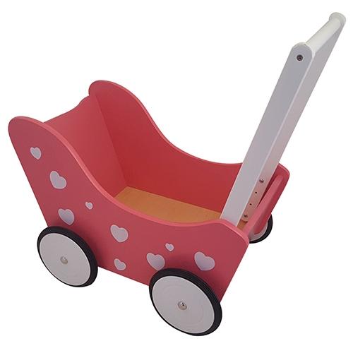 Poppenwagen met hartjes roze; exclusief dekje