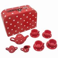 Servies porselein rood met witte stip in koffer