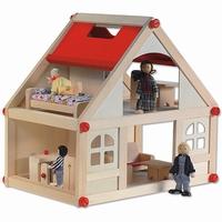 Poppenhuis schroef klein; incl meubels en 4 buigpoppen