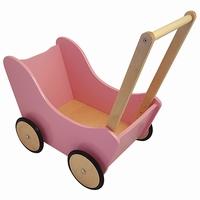 Poppenwagen roze met natural wielen; exclusief dekje