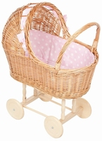 Poppenwagen rieten kap roze stip (gv)
