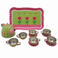 Servies tin roze / groen in doos
