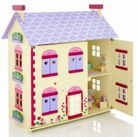 Poppenhuis cottage inclusief meubels; Openklapbare voorkant