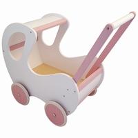 Poppenwagen wit met roze klassiek; exclusief dekje