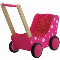 Poppenwagen met stip roze