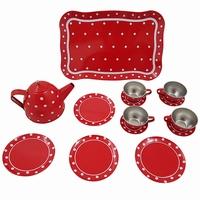 Servies tin rood met witte stip in doos