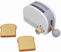 Houten broodrooster wit met zilver; inclusief 2 boterhammen