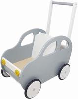 Duwwagen auto zilver - wit; Duwh 60 CM
